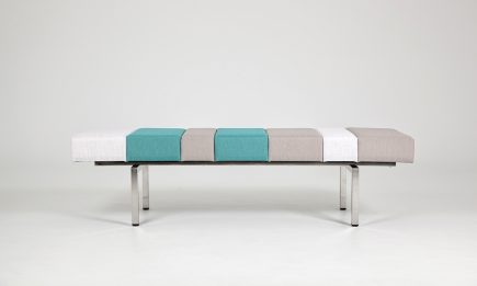 Luxury colourful fabric bench with steel legs size 155/50/40 cm by Urvission Interiors price £563