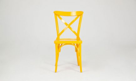 Yellow dining chair in solid wood by Urvission Interiors price £165