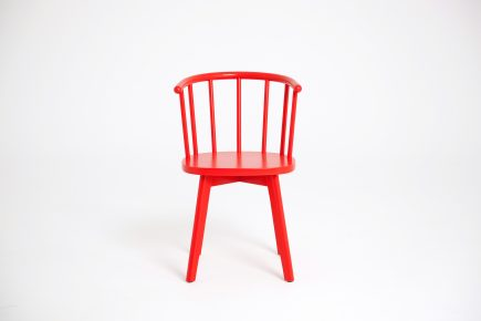 Red dining chair in solid wood and modern design by Urvission Interiors price £157