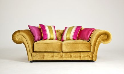 Ultra stylish sofa in yellow fabric and chesterfield style size 200/100 cm by Urvission Interiors price £2238