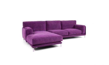 Purple designer corner sofa with steel legs size 300/175cm by Urvission Interiors price £3146