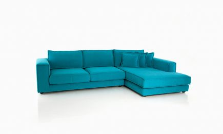 Corner sofa in blue fabric and modern style size 300/175 cm by Urvission Interiors price £2574