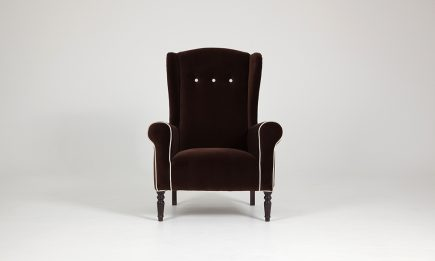 Classical brown fabric armchair by Urvission Interiors price £920