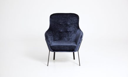 Blue fabric armchair with black steel legs and modern design size 60/70/95cm by Urvission Interiors price £585