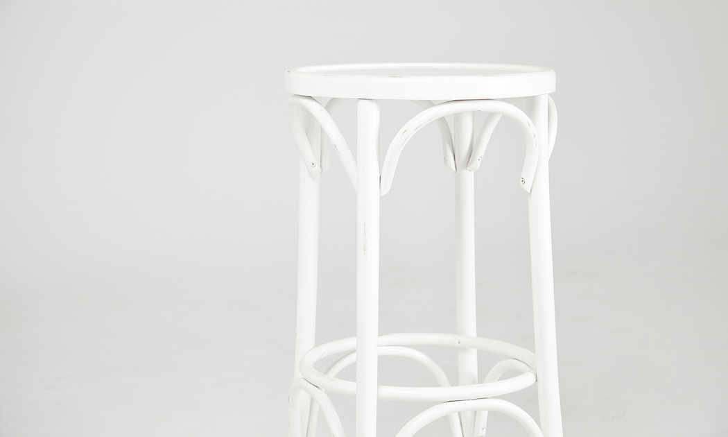 Bespoke white vintage bar stool in solid wood by Urvission Interiors price £167