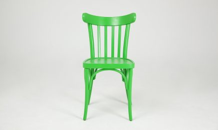 Green wooden dining chair in rustic design by Urvission Interiors price £153