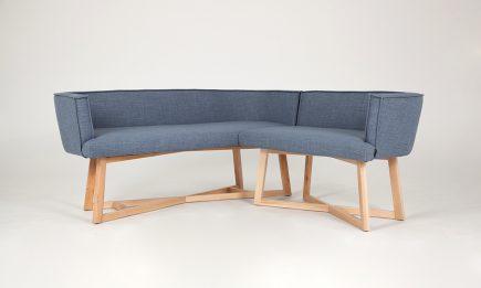 Designer blue fabric corner sofa with wooden legs size 175/175cm by Urvission Interiors price £1408