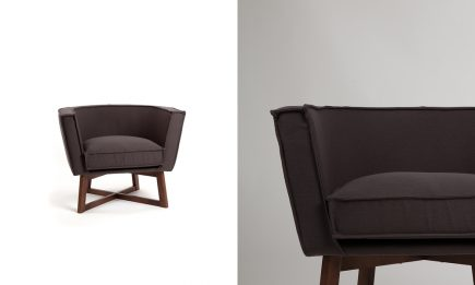 Dark brown fabric armchair with wood legs size 90/80/70cm by Urvission Interiors price £638