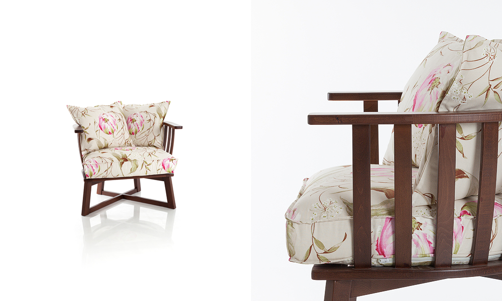 Designer fabric armchair with wood legs rustic design size 87/80/68cm by Urvission Interiors price £613