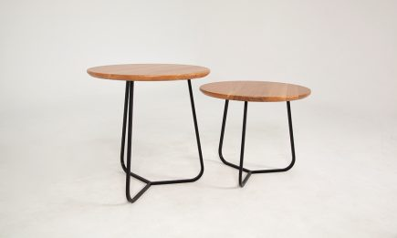 Scandinavian 2x coffee tables with black steel legs and wooden top by Urvission Interiors price £405