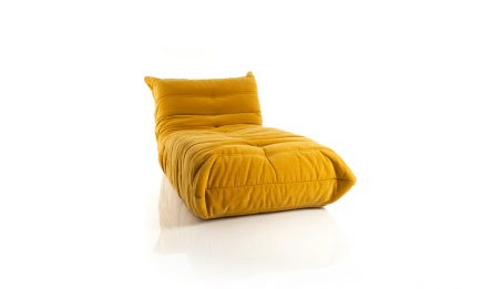 Yellow fabric couch size 90/164 cm by Urvission Interiors price £1315