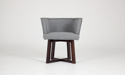 Designer grey fabric dining chair with wood legs size 70/55/74cm by Urvission Interiors price £404