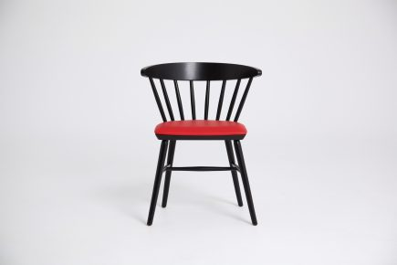 Black wooden dining chair with red leather seat and modern design bespoke by Urvission Interiors price £221