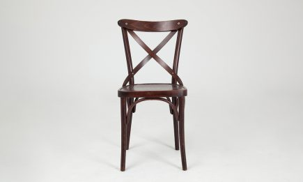 Rustic dining chair in a dark brown wood by Urvission Interiors price £154