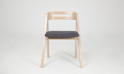 Dining chair in light wood with grey fabric seat and modern design bespoke by Urvission Interiors price £206