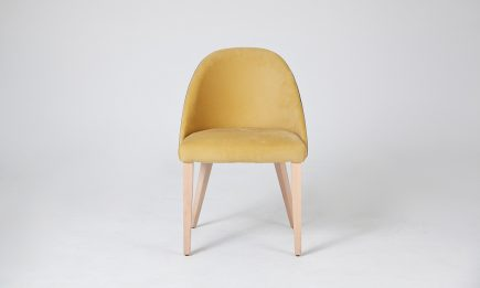 Luxury yellow fabric dining chair with wood legs and modern design size 55/65/82 cm by Urvission Interiors price £242
