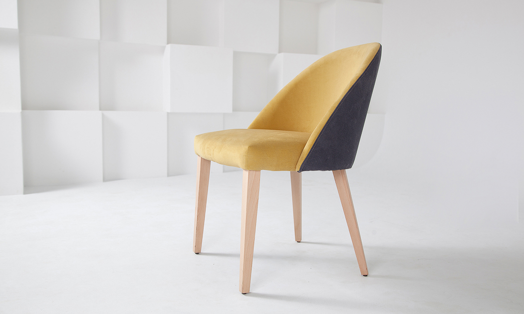 Designer yellow and grey fabric dining chair size 55/65/82 cm by Urvission Interiors price £242