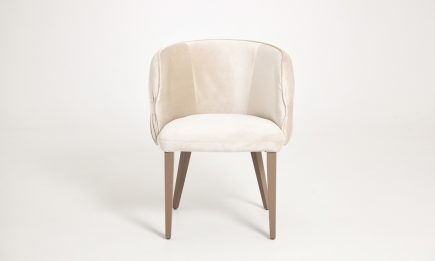 Designer fabric dining chair with wooden legs and hand made details in size 60/65/80 cm by Urvission Interiors price £386