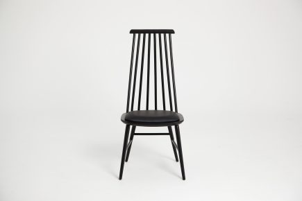 Designer black dining chair with leather seat by Urvission Interiors price £204