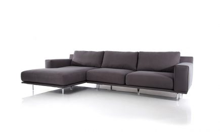 Corner sofa in a dark grey fabric and steel legs size 300/160 cm by Urvission Interiors price £2451