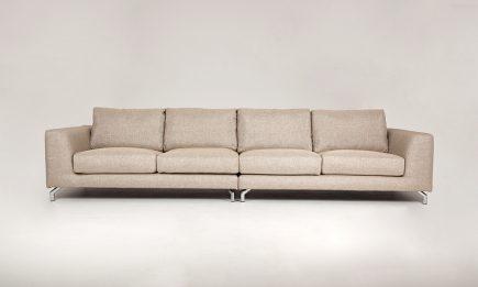Designer beige fabric sofa with elegant steel legs in size 220/100 cm by Urvission Interiors price £2111