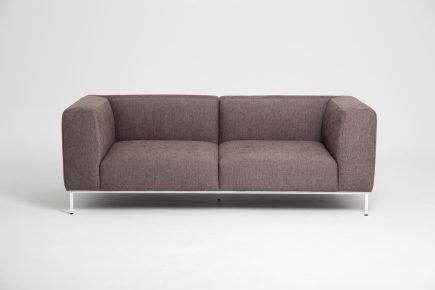 Designer brown fabric 2 seat sofa elegant white steel legs in size 205/90cm by Urvission Interiors price £1560