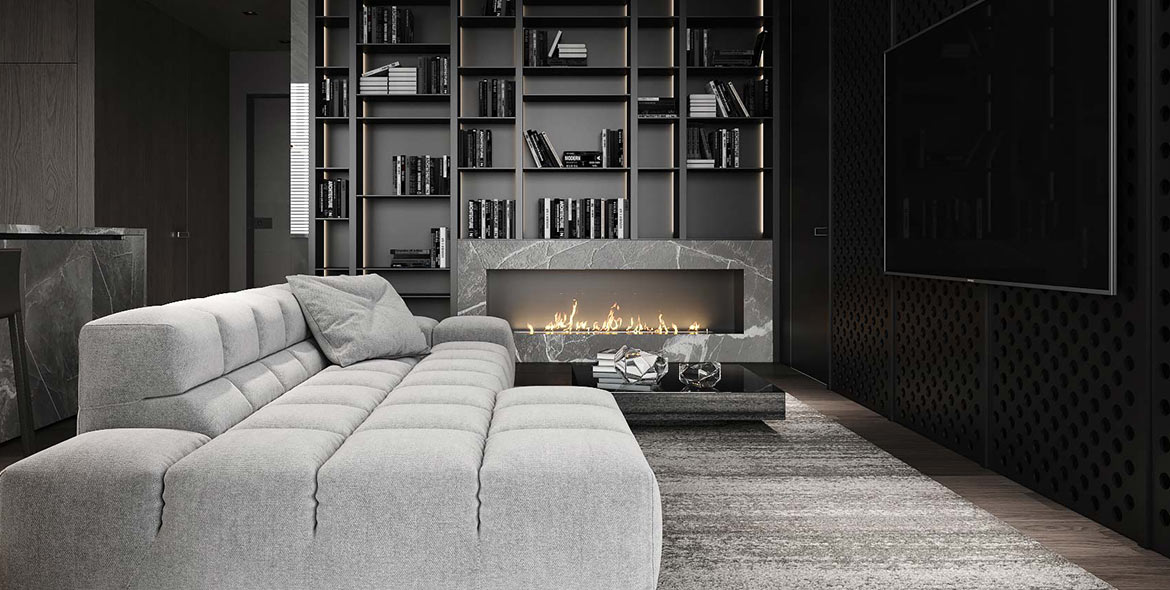 Contemporary cosy living room design by Urvission Interiors
