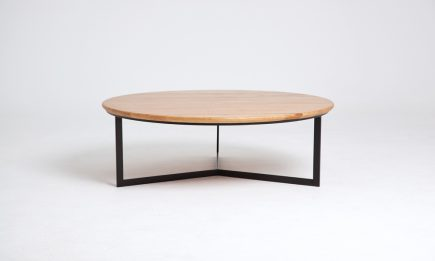 Rounded black steel coffee table with solid wood top and scandinavian style size 64/64/34 cm by Urvission Interiors price £405