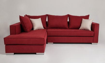 Red fabric corner sofa with steel legs size 250/190 cm by Urvission Interiors price £1614