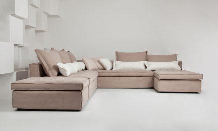 Bespoke corner sofa in beige fabric modern design size 280/280 cm by Urvission Interiors price £3100