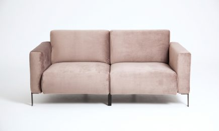Designer 2 seat sofa in luxury beige fabric and steel legs size 185/80cm by Urvission Interiors price £1496