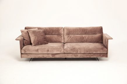 Bespoke 2 set sofa in brown fabric and steel legs size 200/90 cm by Urvission Interiors price £1509