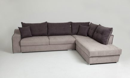 Bespoke corner sofa in luxury beige fabric and brown cushions size 290/220 cm by Urvission Interiors price £2272