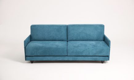 Bespoke 2 set sofa in light blue fabric and modern design in size 180/100 cm by Urvission Interiors price £1294
