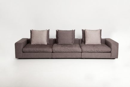 Fabric sofa in a grey colour and feather fillings size 350/120 cm by Urvission Interiors price £3554