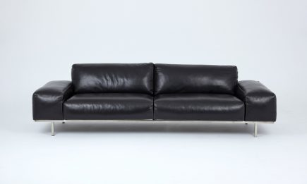 Black leather sofa with steel legs and modern design size 260/95 cm by Urvission Interiors price £3900