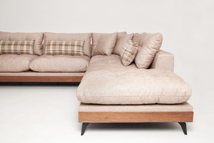 Luxury corner sofa in beige fabric with wooden base and steel legs size 340/250cm by Urvission Interiors price £2922