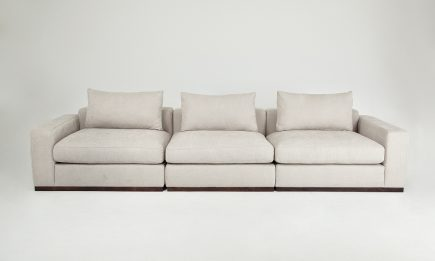 Bespoke 3 seat sofa in a ivory fabric and feather fillings size 340/100 cm by Urvission Interiors price £2449