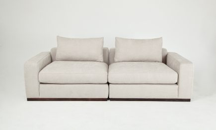 Luxury 2 seat sofa in a ivory fabric and feather fillings size 240/100 cm by Urvission Interiors price £1766