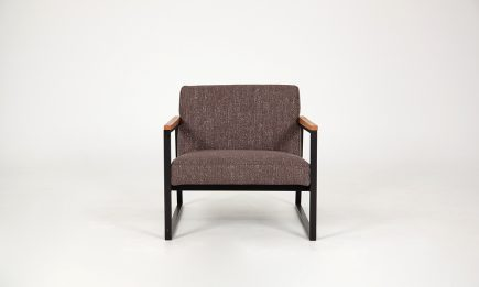 Luxury armchair in brown fabric with black steel legs and wood elements size 70/80/67 cm by Urvission Interiors price £670
