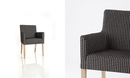 Luxury upholstered chair in dark grey pepita fabric and wood legs by Urvission Interiors price £223