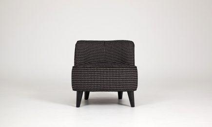 Ultra stylish armchair in black pepita fabric size 65/75/65 cm by Urvission Interiors price £927