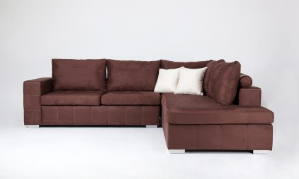 Modern corner sofa in brown fabric and designer cushions size 250/190 cm by Urvission Interiors price £1739