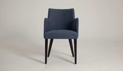 Modern dining chair in blue pepita fabric with wood legs size 55/55/83 cm by Urvission Interiors price £223