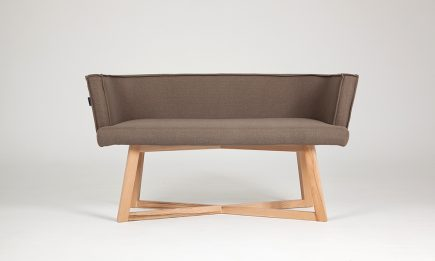 3 seat designer sofa in brown fabric with wood legs bespoke size 135/62 cm by Urvission Interiors price £1147