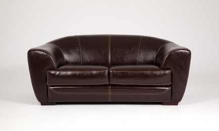 2 seat brown leather sofa with orange stitches size 175/85 cm by Urvission Interiors price £1303