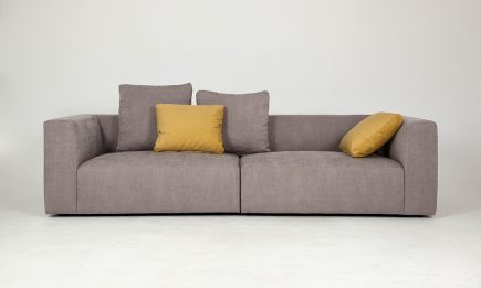 Luxury 2 seat sofa in light brown fabric and yellow cushions size 180/100 cm by Urvission Interiors price £1501