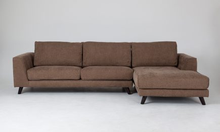 Classical corner sofa in brown fabric and stylish wood legs in size 290/180 cm by Urvission Interiors price £2278