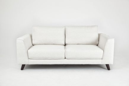 Bespoke 2 seat sofa with white fabric and wood legs size 185/100 cm by Urvission Interiors price £1265