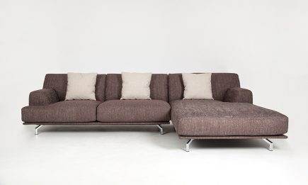 Corner sofa in modern brown fabric and steel legs size 300/170 cm by Urvission Interiors price £2625